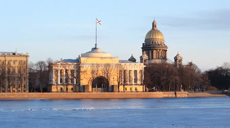saintpetersburg : St. Petersburg, The Admiralty building and Isaac Cathedral in winter