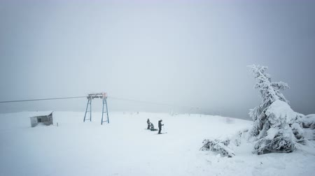Skiers in winter wood. sky lift, 4K timelapse in Carpatian mountains, photographed on Nikon D800 camera.