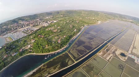 sůl : Aerial 360 degree panoramic view of soline in Slovenia, place of extraction of sea salt.
