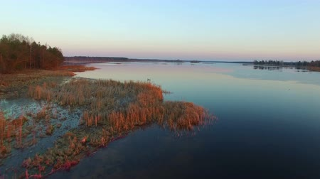 takeoff area : 4K. Low flight and takeoff over wild lake with ducks in winter on sunset, aerial view. Stock Footage