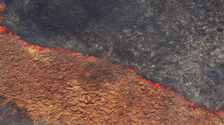 bush fire : Top view of rural land being in fire