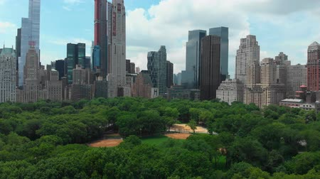 midtown manhattan : Aerial view of Central park of New York city Stock Footage