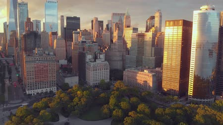 midtown manhattan : Top view of Battery park of New York city Stock Footage