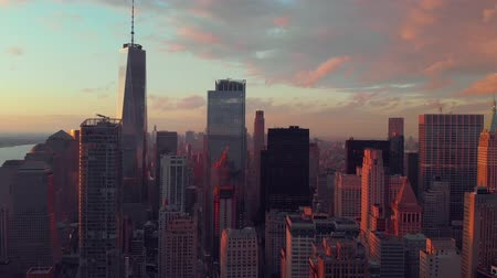 midtown : Aerial view of lower manhattan Stock Footage