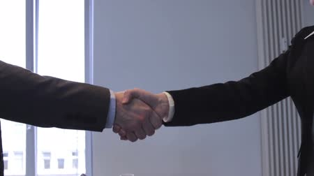 tratar : Cropped view of the arms of a business man and woman shaking hands to close a deal, in greeting or congratulating each other Vídeos