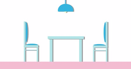 kabine : Dining room interior with breakfast table, chairs and vase with apples. Stok Video