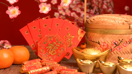 Новый год : chinese new year deocration with blank wood copyspace for design purpose Стоковые видеозаписи