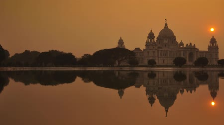 kolkata : Time lapse of victoria memorial during sunset,  Kolkata, India Stock Footage