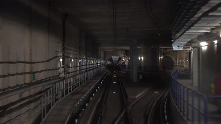 vanishing point : Concept of modern metro underground transport and connection speed footage