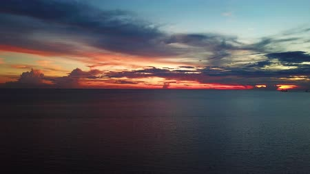 sunset of malacca straits at beach, drone shot