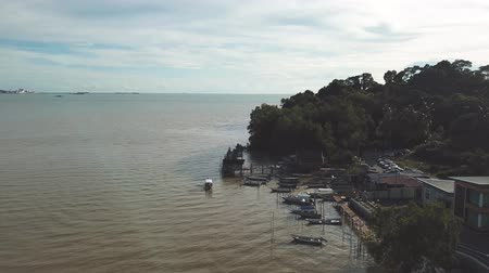 drone view of boats at fish jetty, malaysia