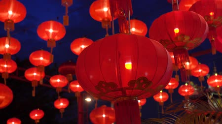 Çin mahallesi : Chinese lanterns during new year festival footage Stok Video