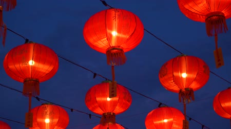 buddhizmus : Chinese lanterns during new year festival footage Stock mozgókép
