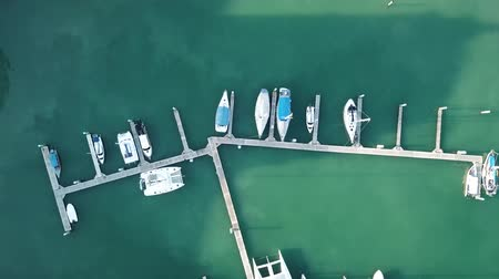 Aerial view of a lot of white boats and yachts moored in marina on a turquoise water Vídeos