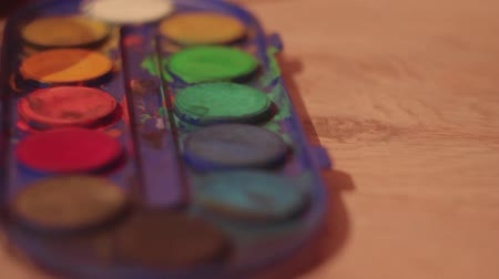 picture box : watercolor paints Stock Footage