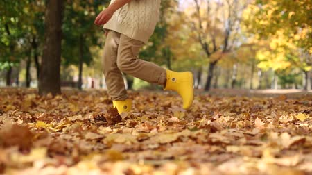 buty : many autumn golden leaves feet girl boots Wideo