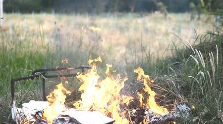 buring : garbage buring in field at countryside