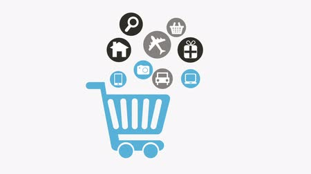 kordé : Shopping cart with icons on white background, Animation Design, HD 1080
