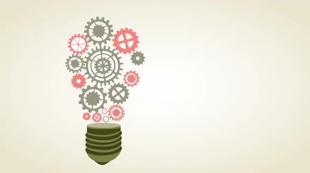 collaboration : Bulb with industry wheels, Animation Design, HD 1080 Stock Footage