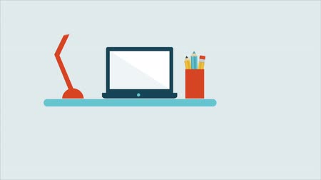 иллюстрация : Desk with laptop and lamp, Animation Design, HD 1080 Стоковые видеозаписи