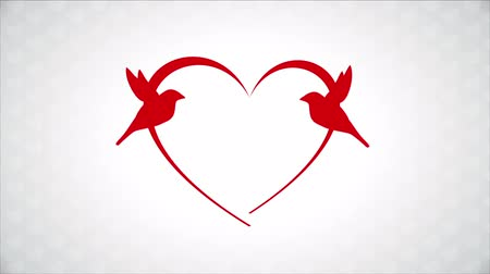 zaproszenie : Red birds in love, heart Animation Design, HD 1080