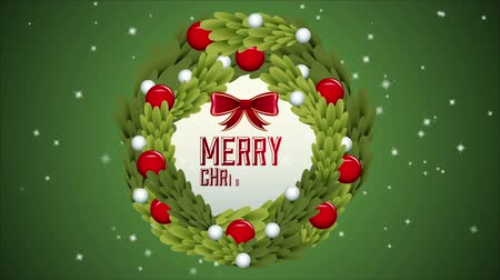 red symbol : Green merry christmas, Video Animation, HD 1080 Stock Footage