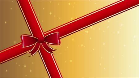 presentes : red ribbon gift, video animation, hd 1080 Stock Footage