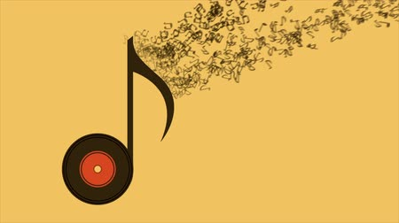 notes : music note on yellow background, video animation, hd 1080