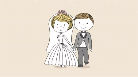 zaproszenie : Cute cartoon couple, Video animation, HD 1080