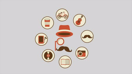hipster : Hipster icons Video animation, HD 1080