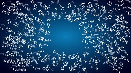 notes : musical notes on blue background  Video animation HD 1080