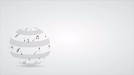 hangjegykulcs : Music notes sphere Video animation, HD 1080 Stock mozgókép