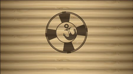lifebelt : Marine icons on wooden background, Video animation, HD 1080