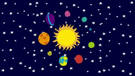 astronomie : Sonnensystem cartoon, Videoanimation, HD 1080