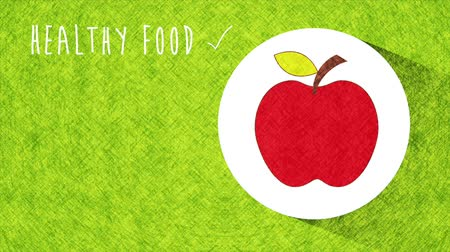çiğ gıda : Apple Icon, Healthy food animation