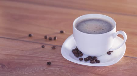wakeup : Delicious and hot white cup of coffee Stock Footage