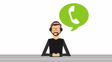 callcenter : customer service, video-animatie Stockvideo