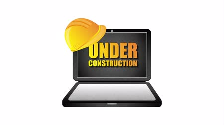 web sites : under construction signal road Stock Footage