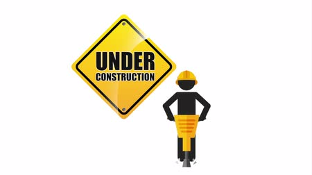 wiertarka : under construction signal road Wideo