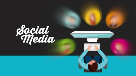 the media : Social media concept Stock Footage
