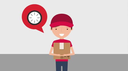 poštovní : delivery man holds smartphone and package logistic service