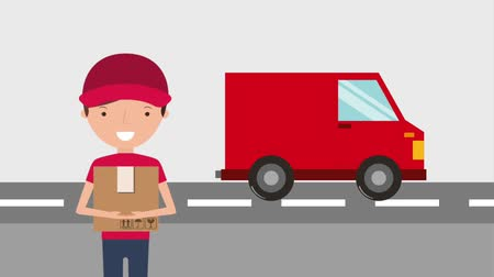 listonosz : delivery red truck and man holds box