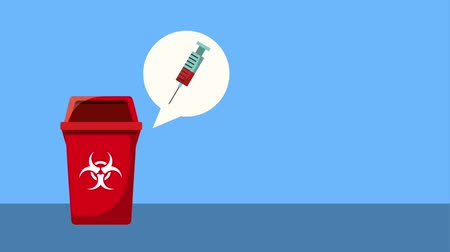 bio hazardous : garbage bin toxic waste syringe with blood animation hd Stock Footage