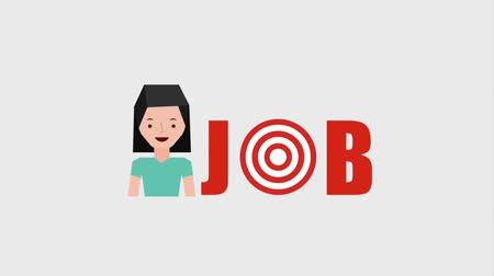 clipe de papel : cartoon woman job success target arrows animation hd Vídeos