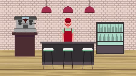 assentos : barista behind counter seats cooler and maker coffee machine shop animation hd