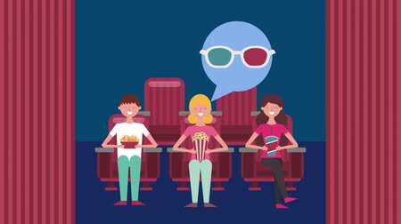 карикатура : people watching movie in cinema 3d glasses with popcorn soda and nachos