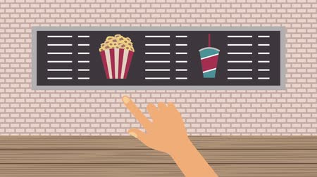 choise : cinema food store choise popcorn soda menu Stock Footage