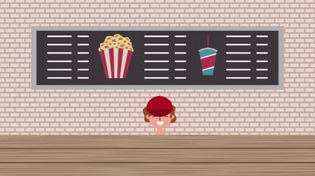kino : cinema seller man menu food popcorn and soda