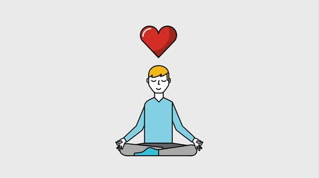 pozíció : man cartoon sitting in lotus yoga pose heart beat animation