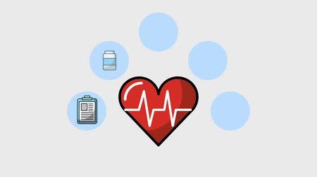 apple sign : heart beat medical healthy lifestyle animation